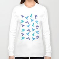 origami Long Sleeve T-shirts featuring ORIGAMI BIRDS by austeja saffron