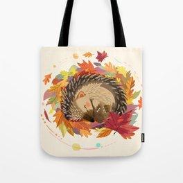 Hedgehog in Autumn Leaves Tote Bag