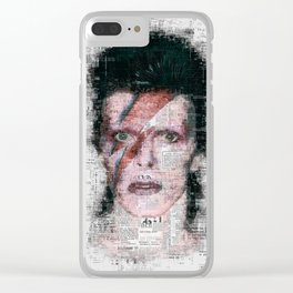 David Bowie Newspaper Style Clear iPhone Case