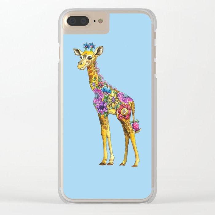 Geraldine the Geniunely Nice Giraffe Blue Clear iPhone Case