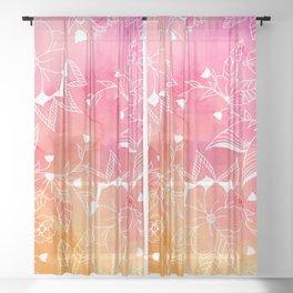 Modern summer pink orange sunset watercolor floral hand drawn illustration Sheer Curtain