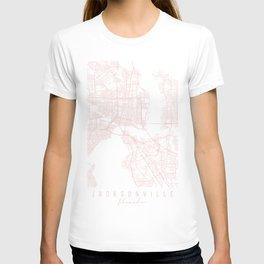 Jacksonville Florida Light Pink Minimal Street Map T-shirt