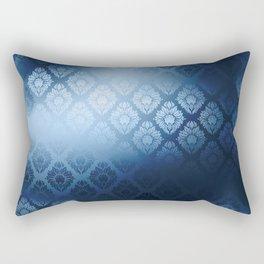 """Navy blue Damask Pattern"" Rectangular Pillow"