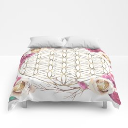 Flower of Life Rose Garden Gold Comforters