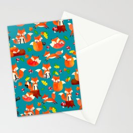 Gamer Fox Watercolor Video Game Animal Pattern Stationery Cards