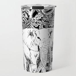 White Elephant Indian Ink Tribal Art Travel Mug