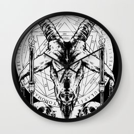 Satanic church skulls pentagram Wall Clock