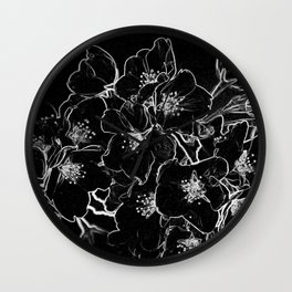 FLOWERS AT MIDNIGHT - IN BLACK & WHITE Wall Clock