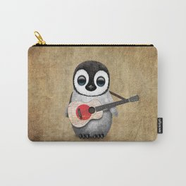 Baby Penguin Playing Japanese Flag Acoustic Guitar Carry-All Pouch