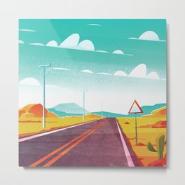 Life is a Highway Kitschy Vintage Retro Watercolor Mid Century Style Metal Print
