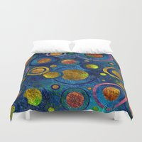 luigi Duvet Covers featuring Full of Golden Dots - color variation by Klara Acel
