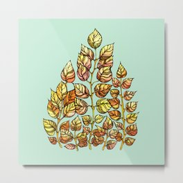 Hand drawn watercolor  golden leaves Metal Print
