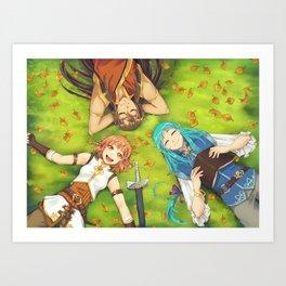Autumn's Journey - on the grass Art Print