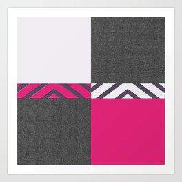 Monochrome Pink Tiles Art Print