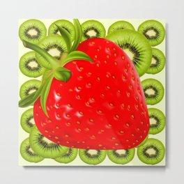 GREEN KIWI & RED STRAWBERRY ART Metal Print