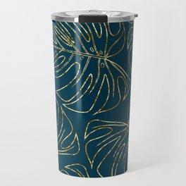 Metallic Monstera Leaves Travel Mug