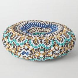 blue & gold moroccan tile Floor Pillow