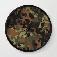 david fleck Wall Clocks featuring Fleck Tarn Camoflauge  by Derek Boman