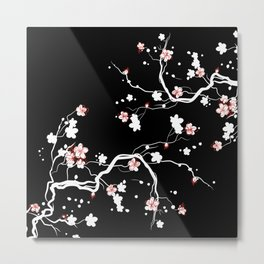 Black Cherry Blossom Metal Print