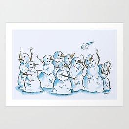 Snowpeople Art Print