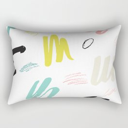 Abstract pink teal black hand painted brushstrokes Rectangular Pillow