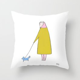 cute old lady with furry dog Throw Pillow