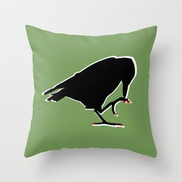 Crow with red pixel nails  Throw Pillow