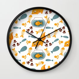 Cats, fish and goldfish on white background Wall Clock