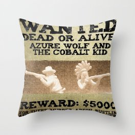 WANTED: AZURE WOLF AND COBALT KID Throw Pillow