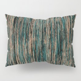 Teal and Metallic Rose Gold Marble Stripes Pillow Sham