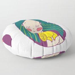 Green haired Girl & Yellow Dog Floor Pillow