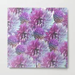 Neon pink lilac lavender watercolor hand painted flowers Metal Print