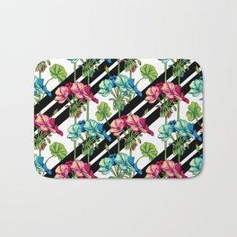 Flowers & Strips Bath Mat