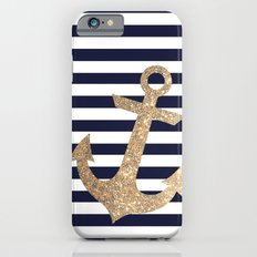 GOLD GLITTER ANCHOR IN WHITE AND NAVY iPhone 6 Slim Case