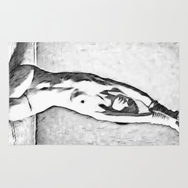Look, but don't touch - black and white erotic, sexy submissive girl nude, naked woman erotic pose Rug