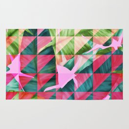 Abstract Hot Pink Banana Leaves Design Rug
