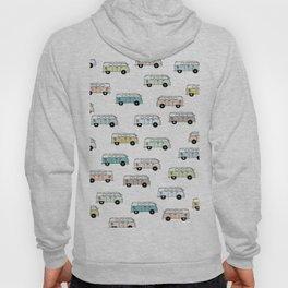 Happy Camper Van Bus blue traveling hippie summer pattern design print Hoody