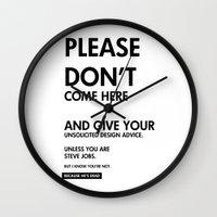 steve jobs Wall Clocks featuring Steve Jobs by Rothko