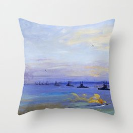 The American Battle Squadron in the Firth of Forth - Digital Remastered Edition Throw Pillow