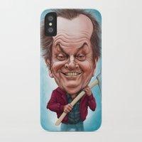 jack nicholson iPhone & iPod Cases featuring Jack Nicholson caricature by Jordygraph