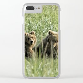 Brown Bear Cubs - Before Play Clear iPhone Case