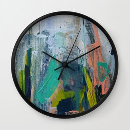 Connection [7]: a vibrant mixed-media abstract piece in blues greens and pink by Alyssa Hamilton Art Wall Clock