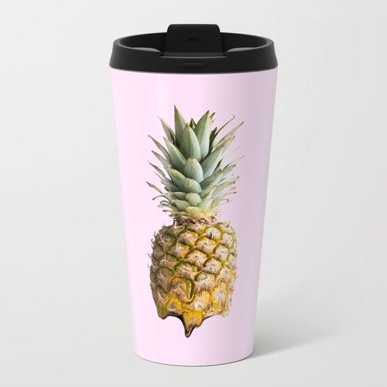 Melting Pastel Pineapple - Rose Metal Travel Mug