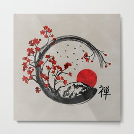 Zen Enso Circle and Sakura Branches Metal Print