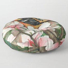 Baltimore Oriole and Magnolias Floor Pillow