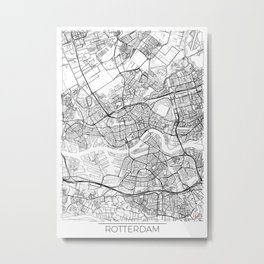 Rotterdam Map White Metal Print