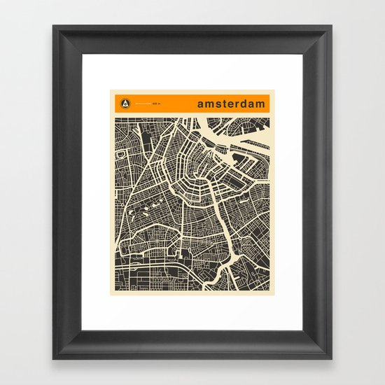 AMSTERDAM MAP Framed Art Print