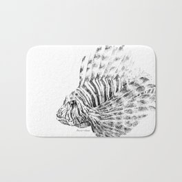 Lionfish - Pterois volitans (black and white, with scientific name) Bath Mat