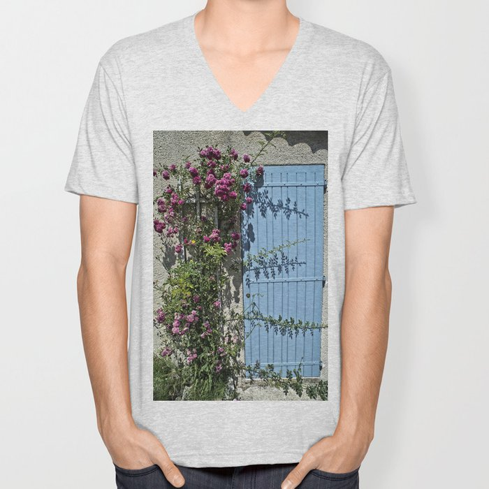 Blue door pink flowers - Provence, France Unisex V-Neck