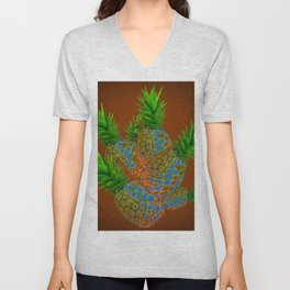 ABSTRACT COFFEE BROWN TROPICAL PINEAPPLES DESIGN Unisex V-Neck